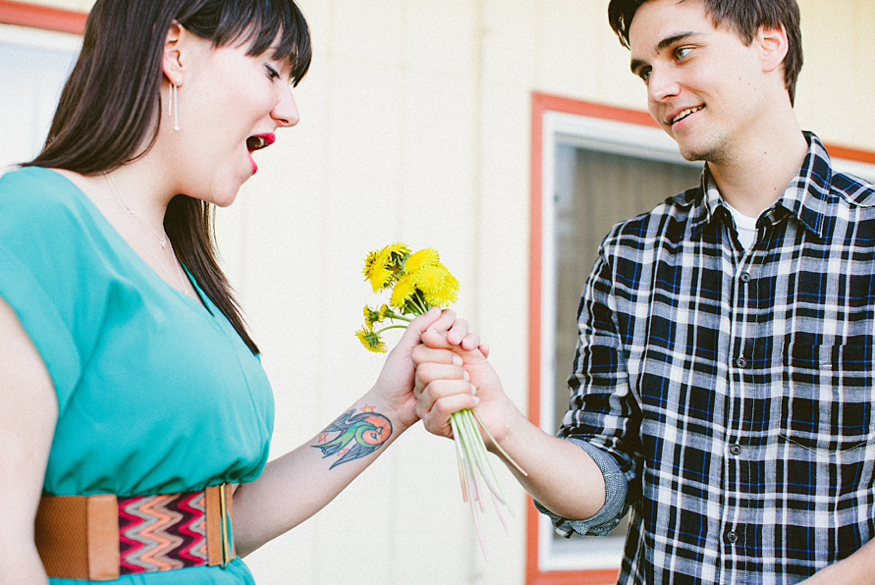 dandelion bouquet engagement shoot
