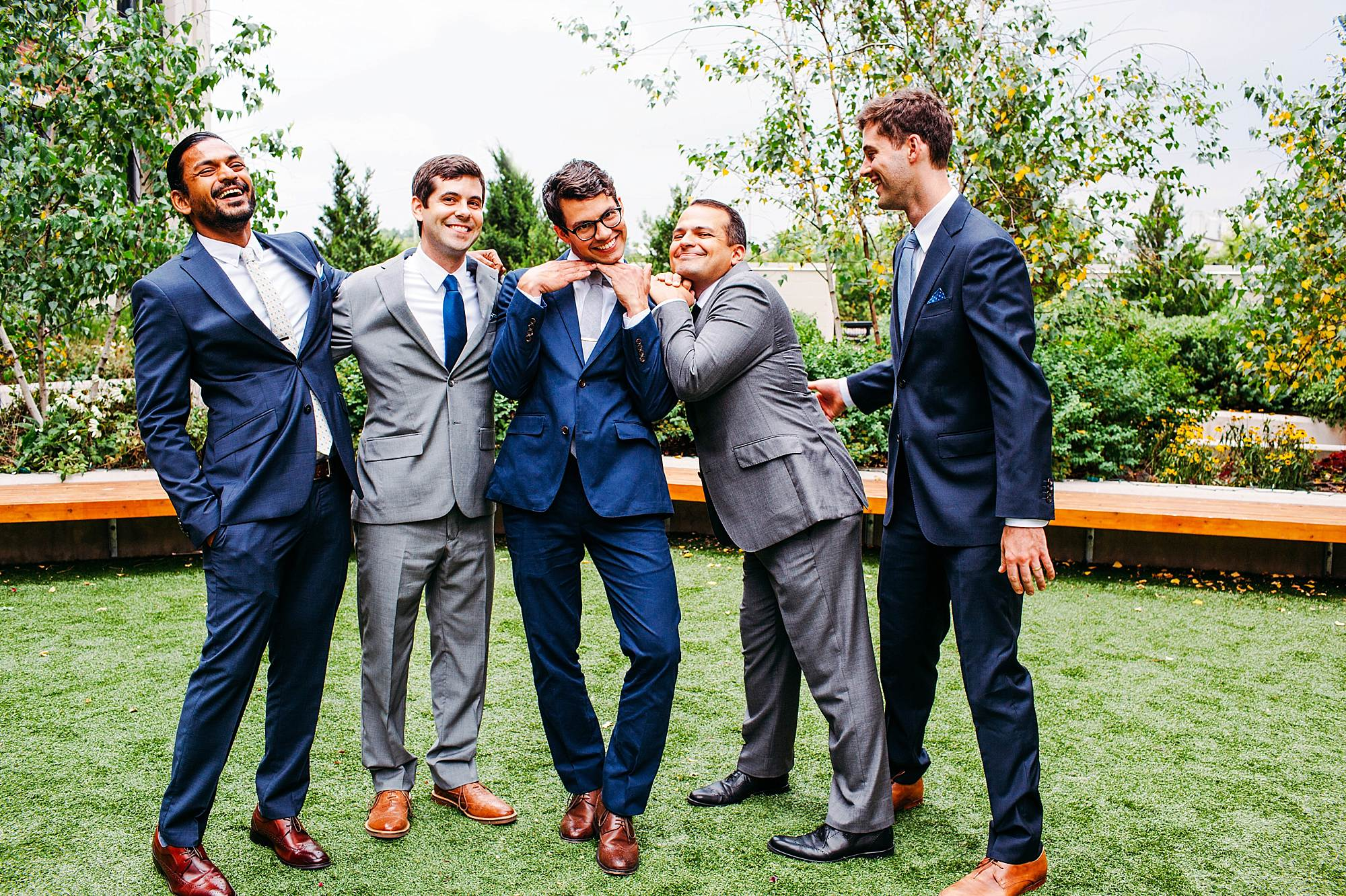 groomsmen at greenhouse loft wedding Chicago