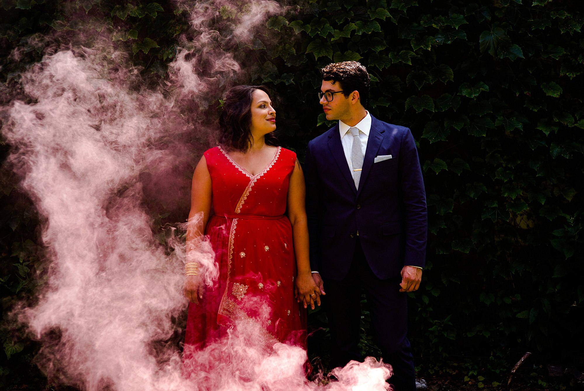smoke bombs at Chicago wedding
