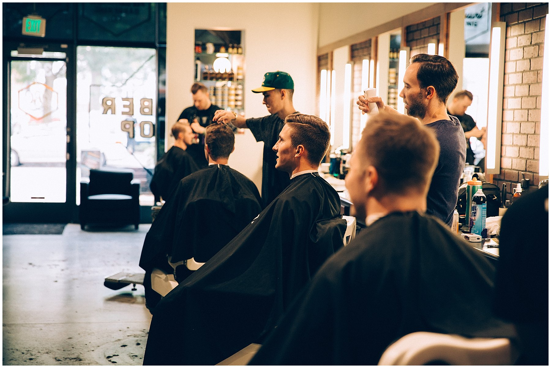 groomsmen getting ready at Des Moines barbershop