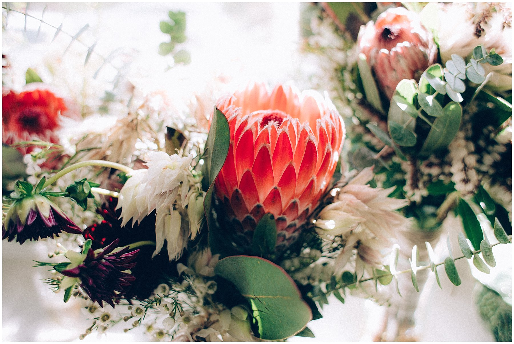 bright protea bridal bouquet