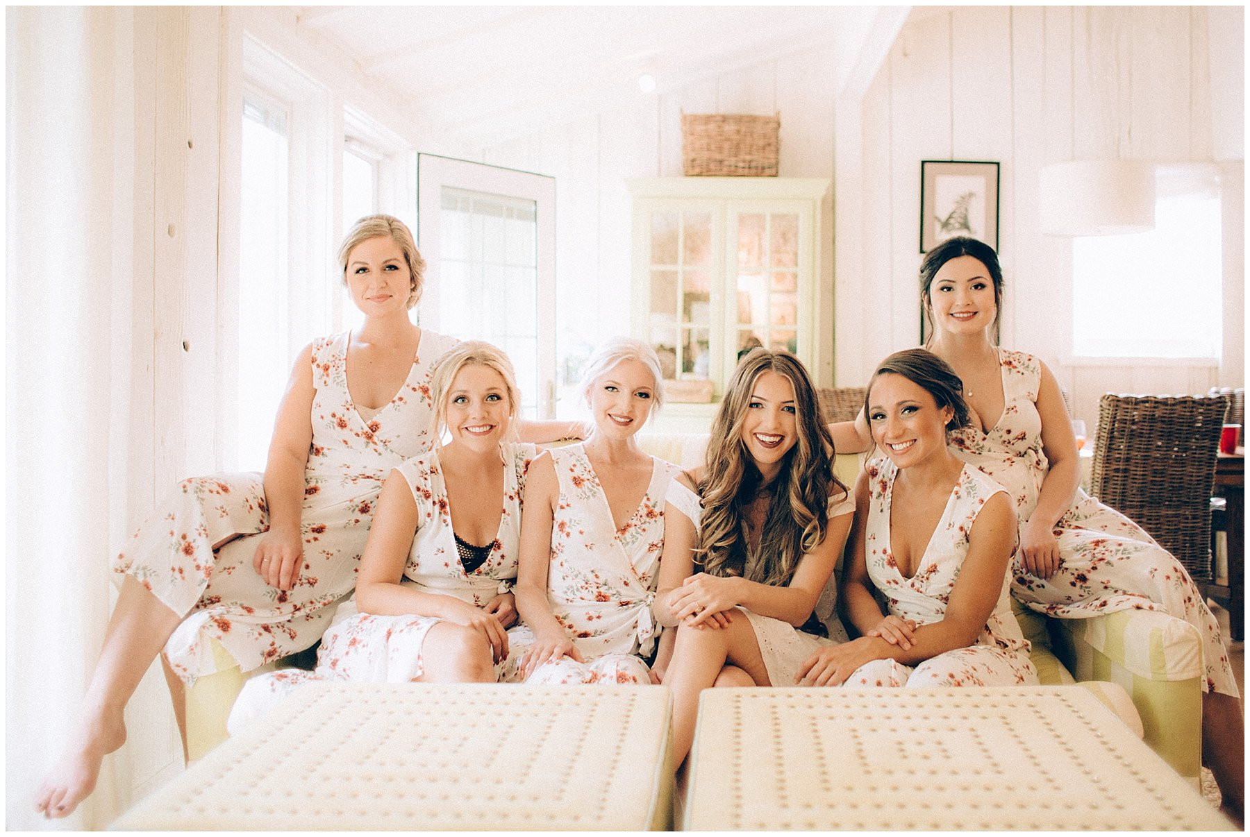 bridesmaids relaxing in cottage while getting ready