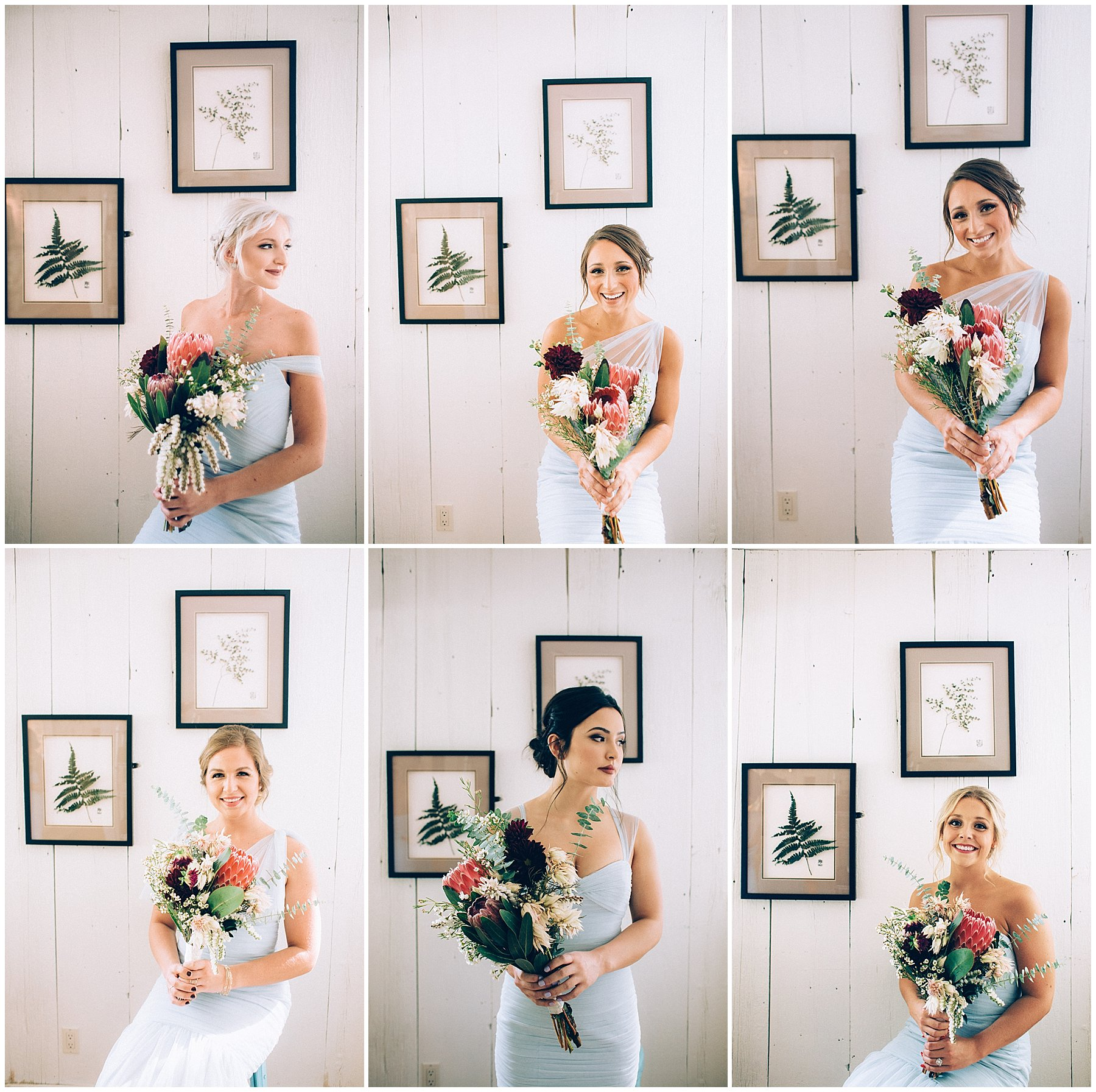 bridesmaids holding protea bouquets by cottage wall