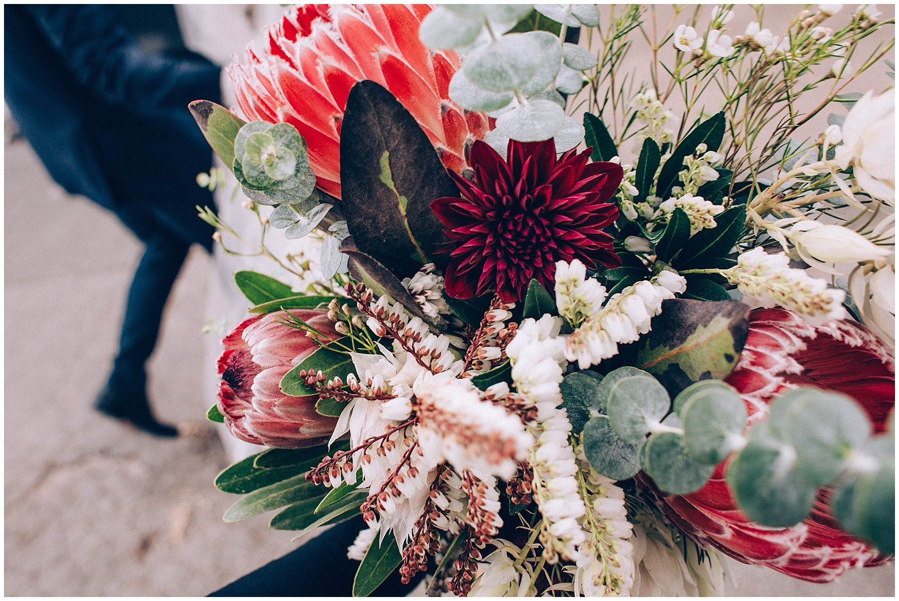 fall themed protea bouquet in Des Moines wedding