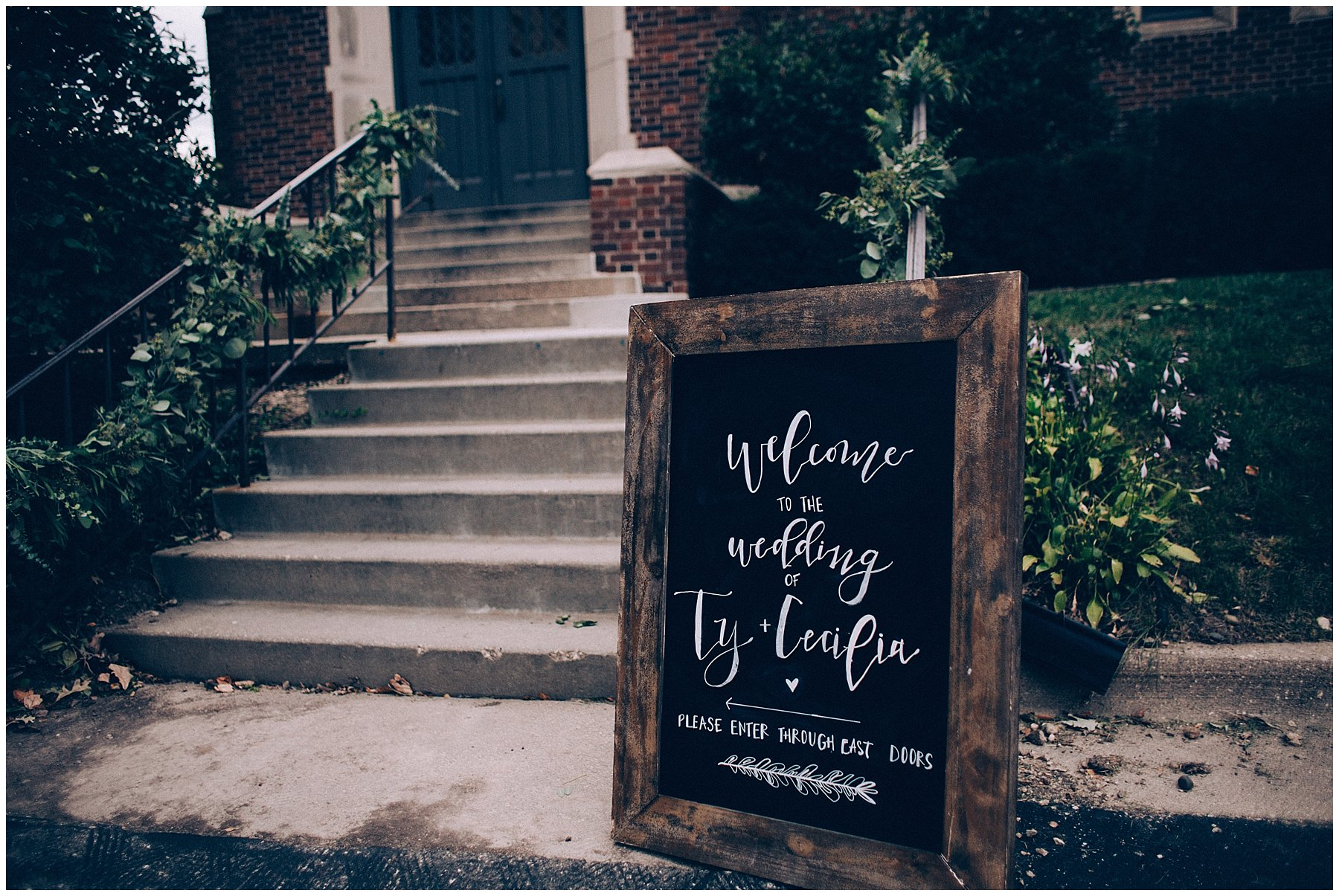 wedding sign with custom letters outside of Des Moines church wedding