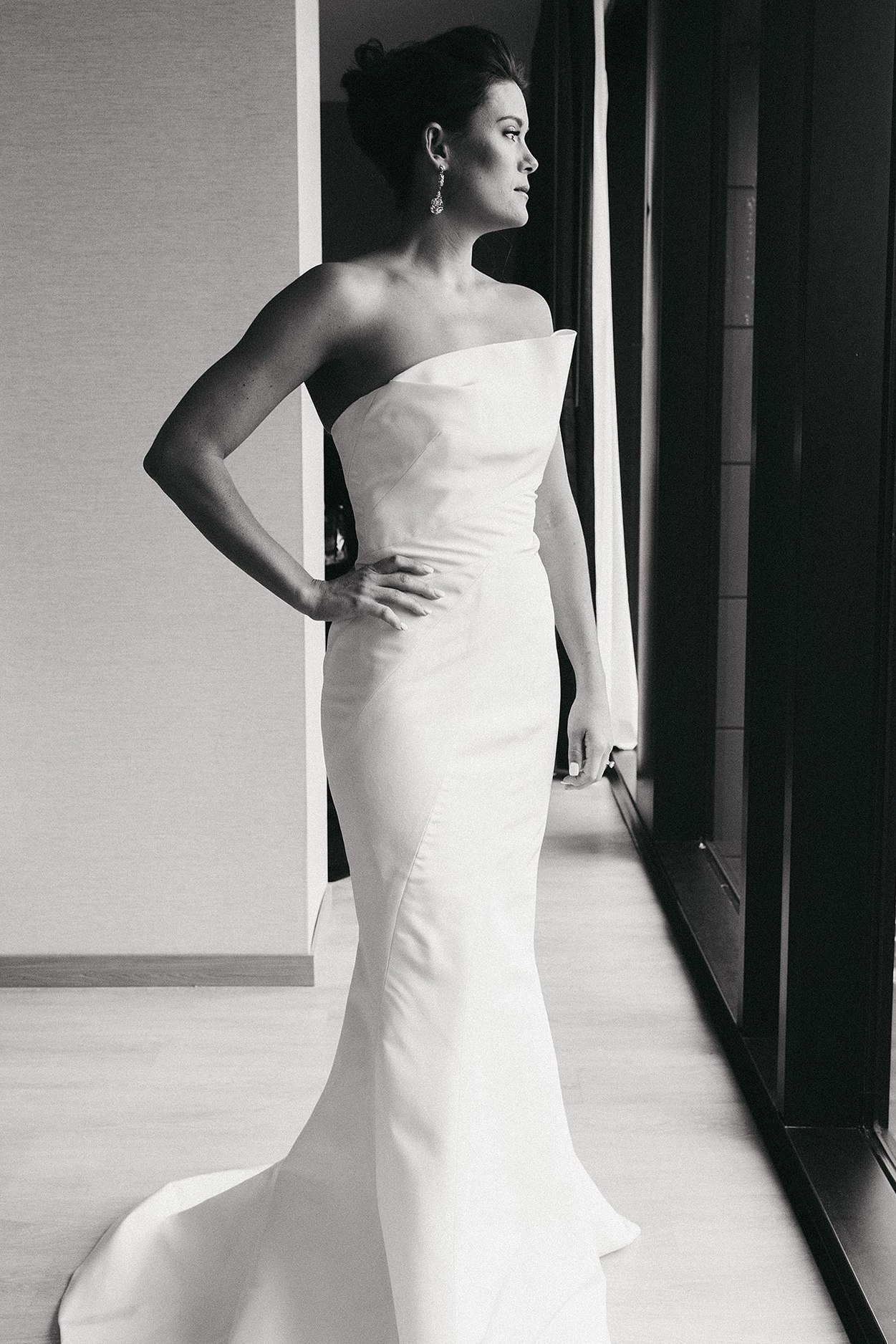 Sarah in her Asymmetrical J. Mendel wedding dress at AC Marriott in Des Moines