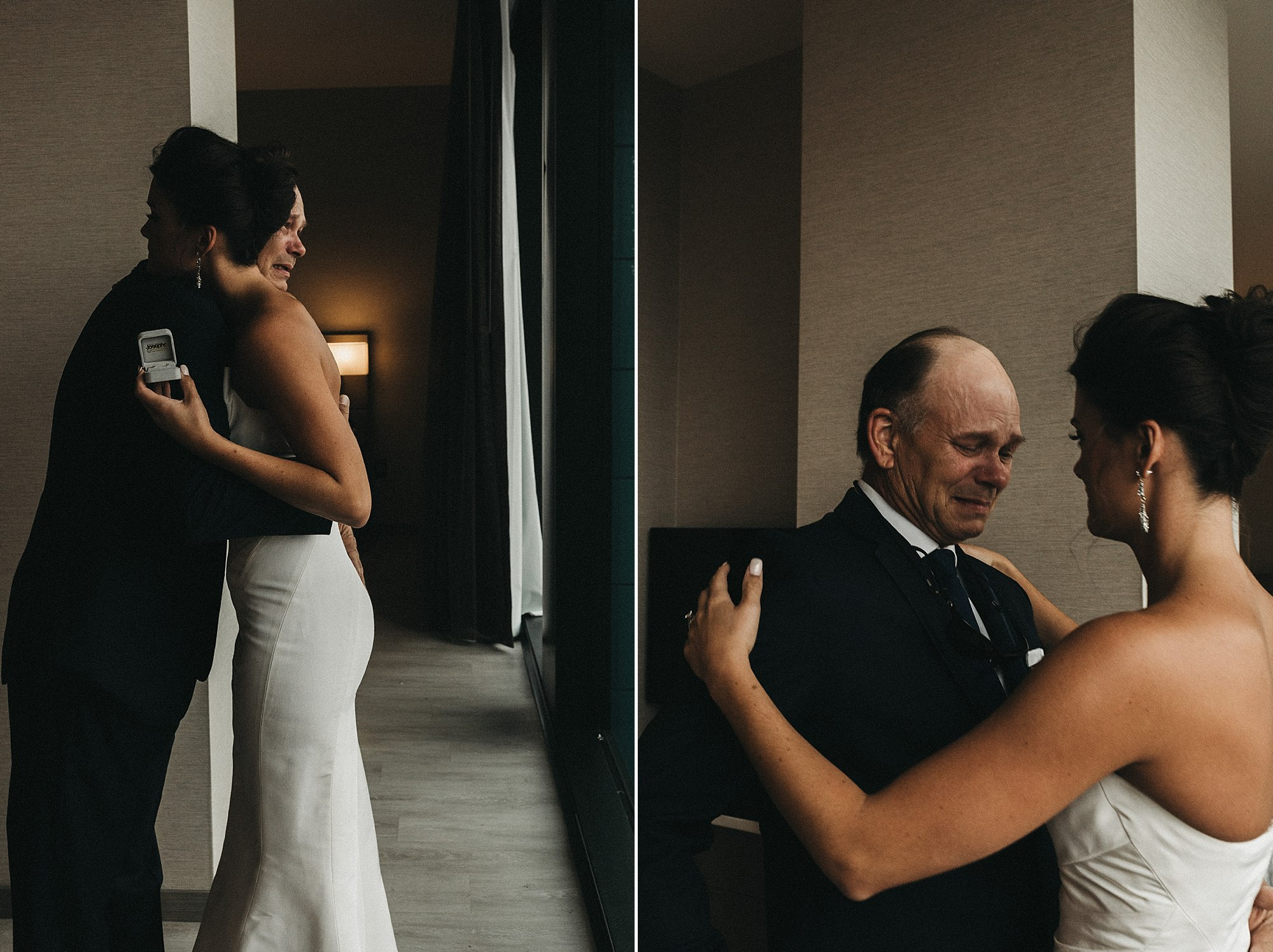 Sarah and Luke getting ready for their cowles commons wedding in Des Moines