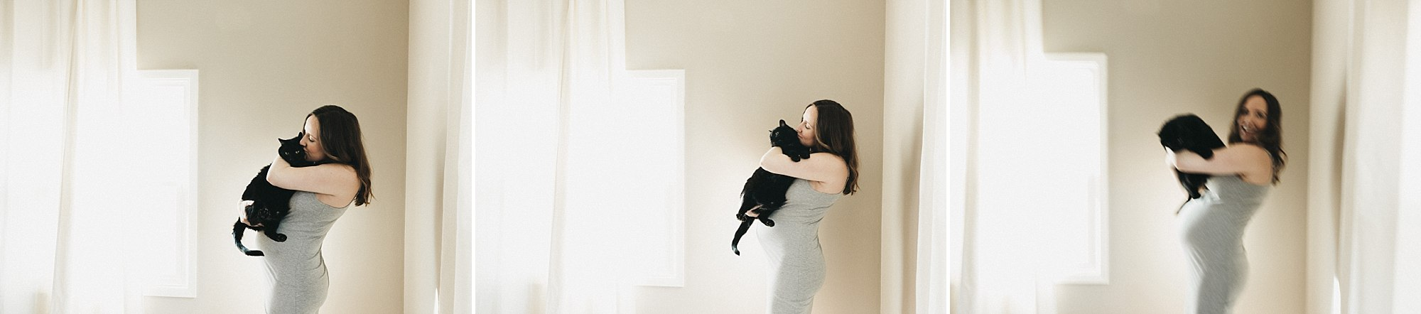 des moines maternity session with cats