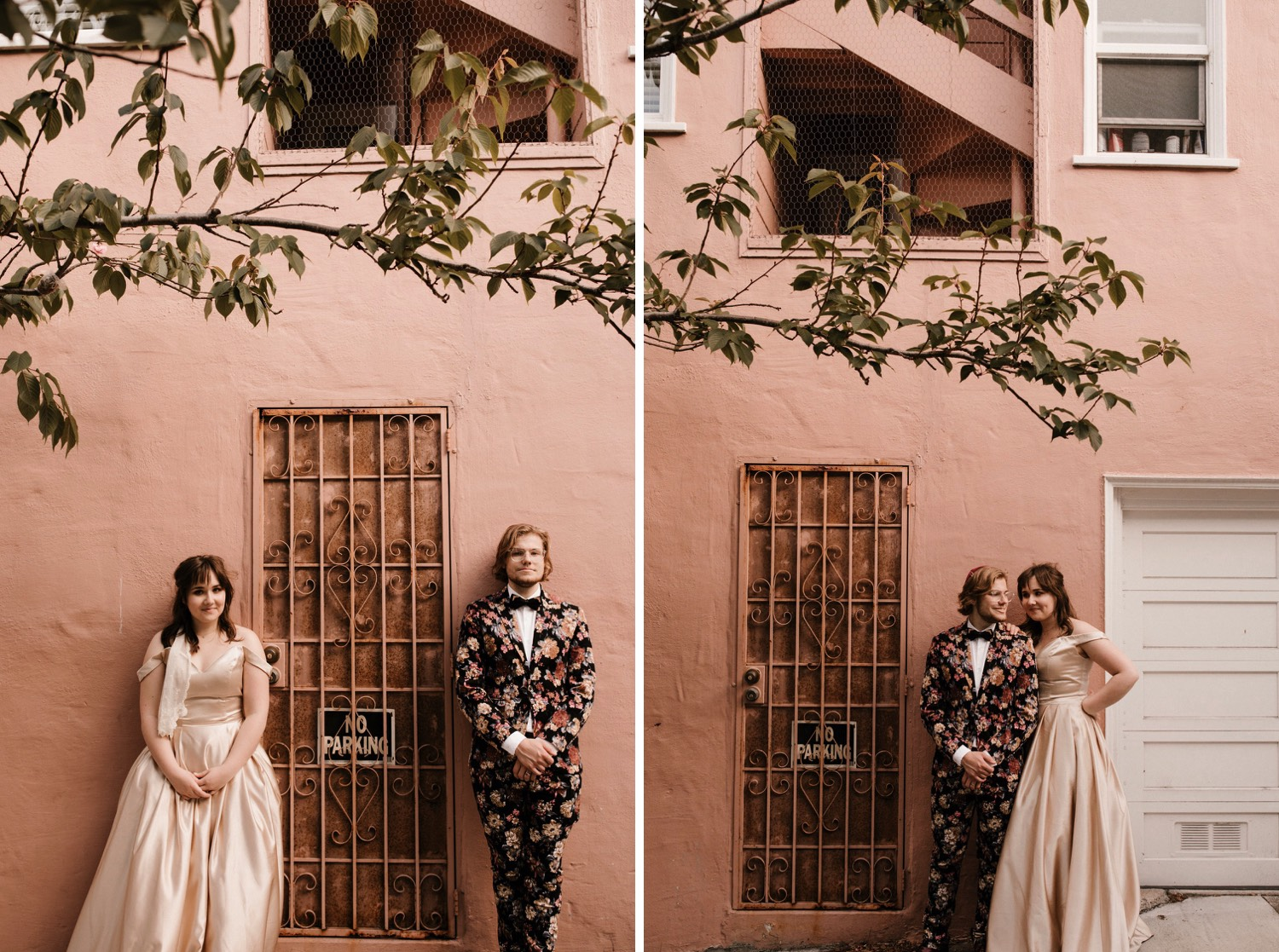 intimate san francisco wedding with groom in floral tux green wedding shoes