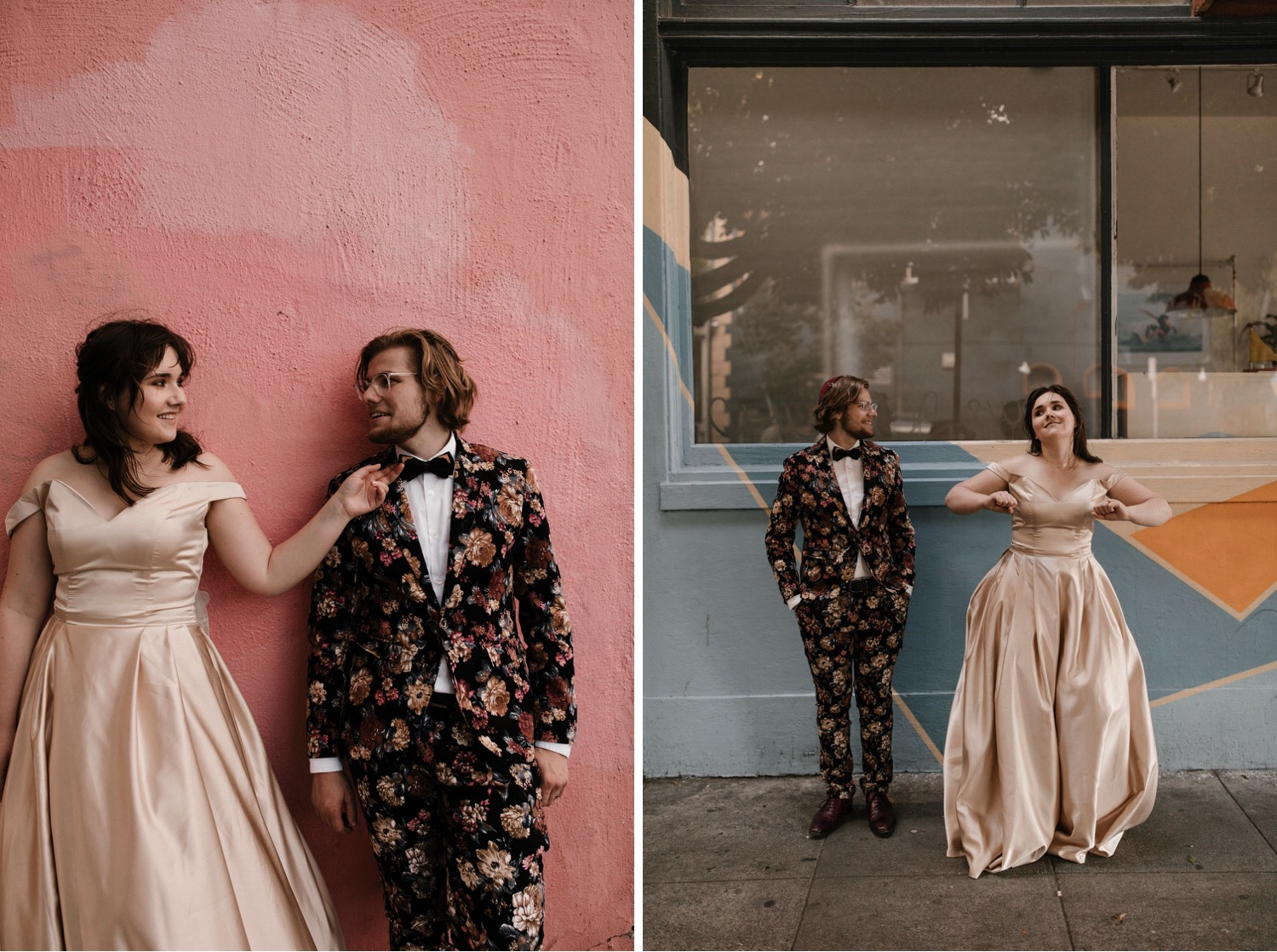 intimate san francisco wedding with groom in floral suit