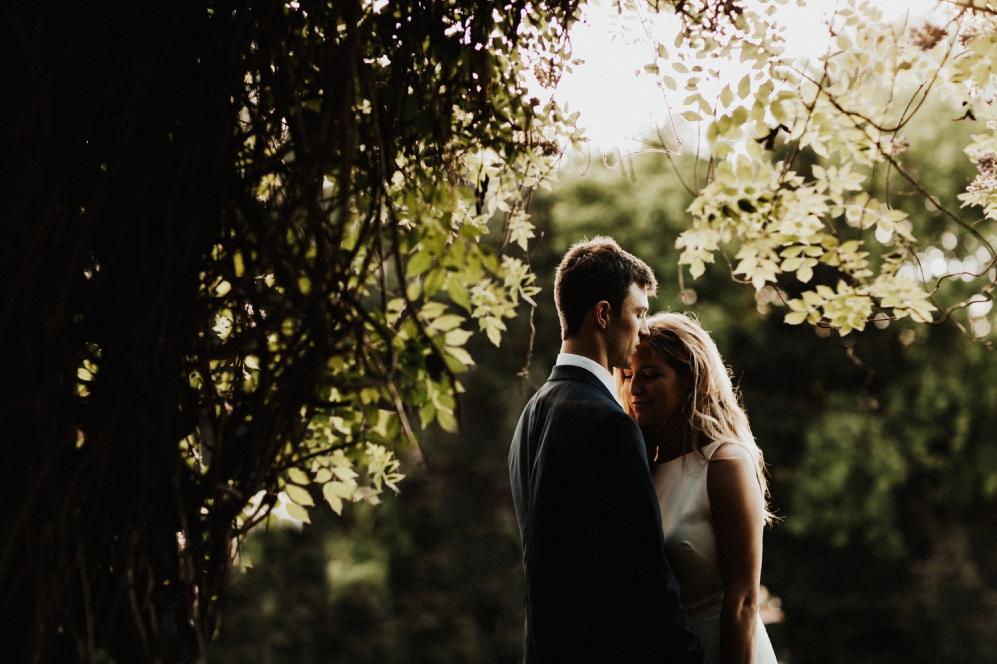 intimate moment between bride and groom at Stonehaven Barn Wedding