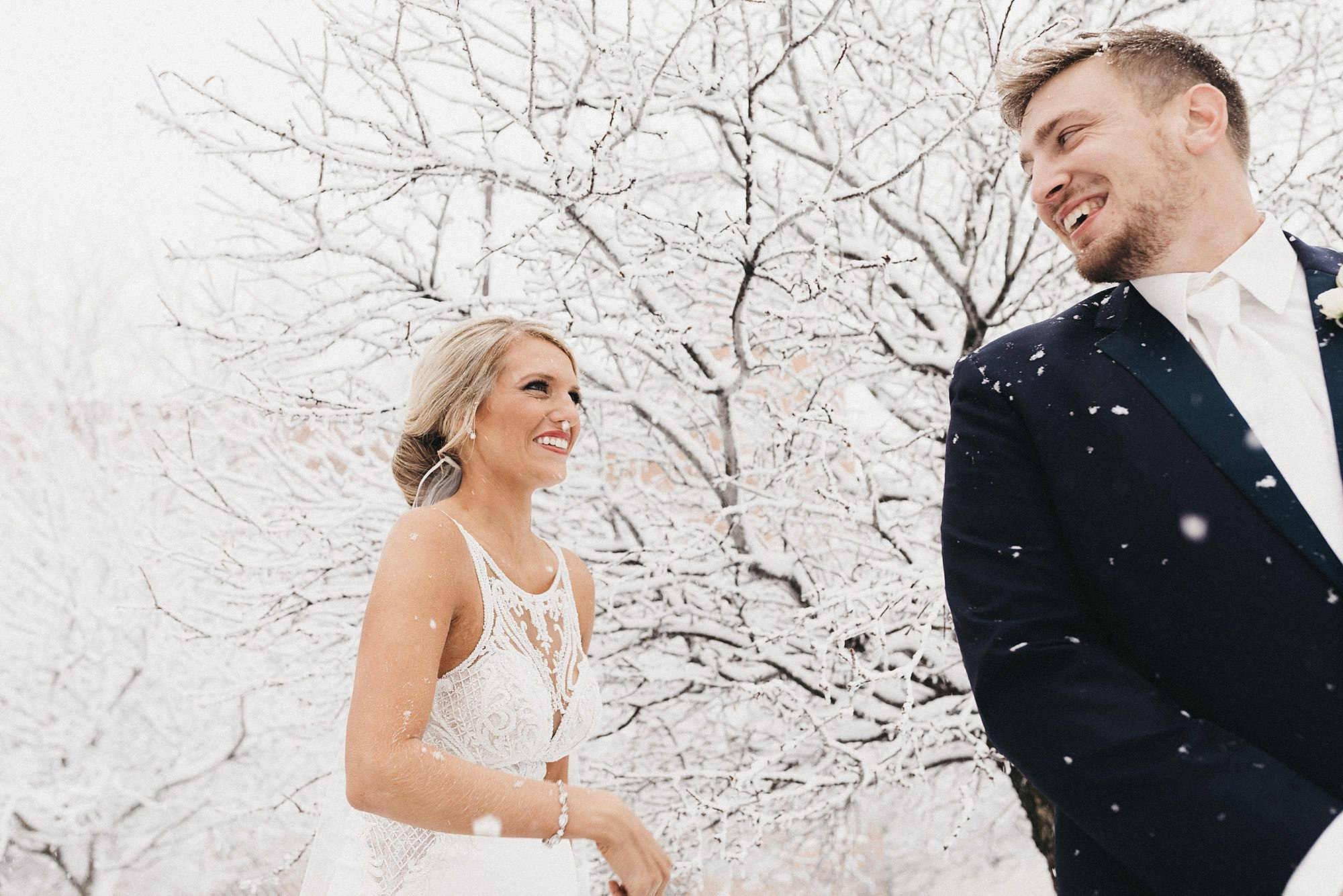 Snowy Wedding at the Maytag Event Complex in Newton Iowa