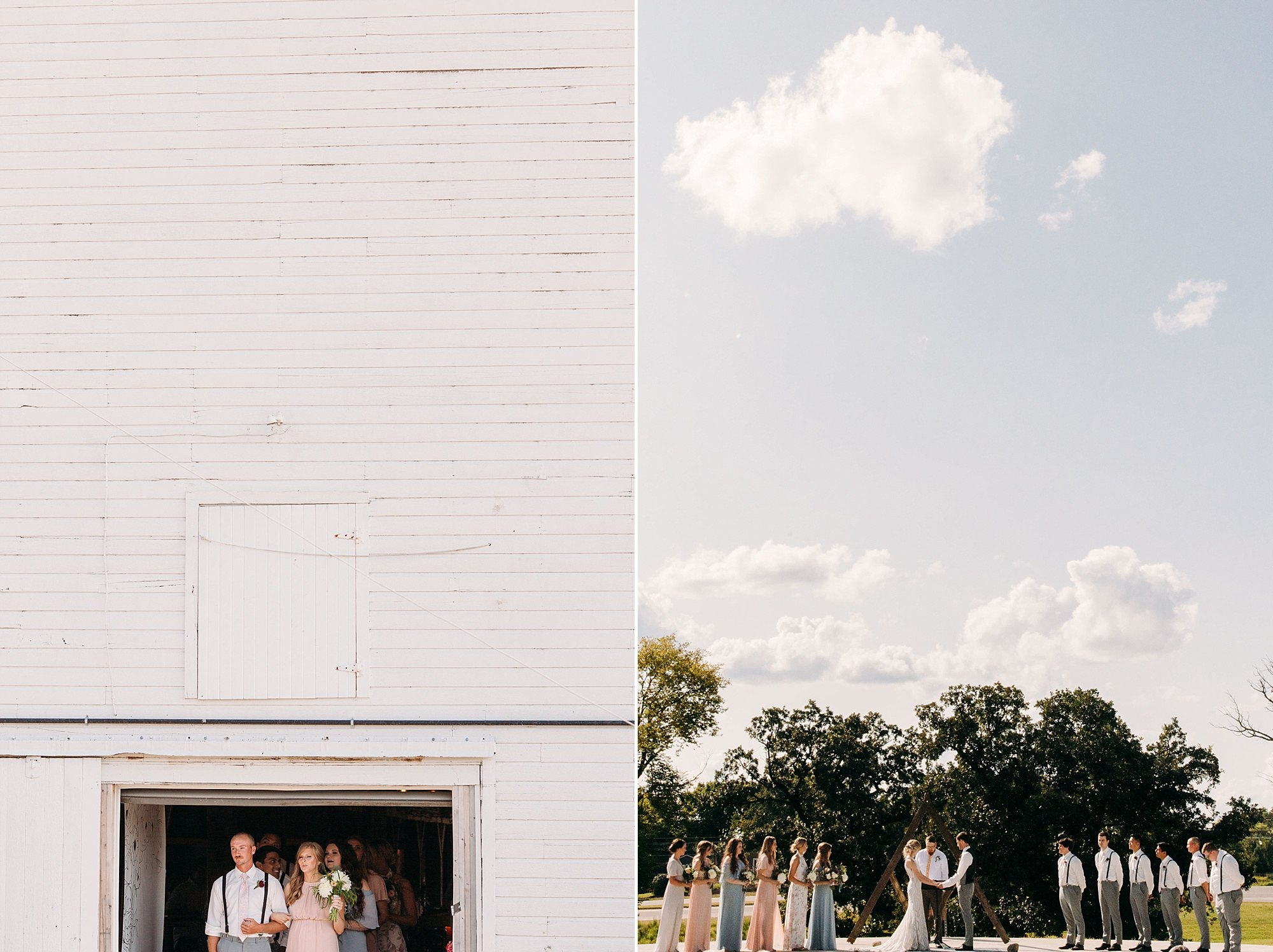 outdoor wedding with wilderly bride at lake okoboji barn
