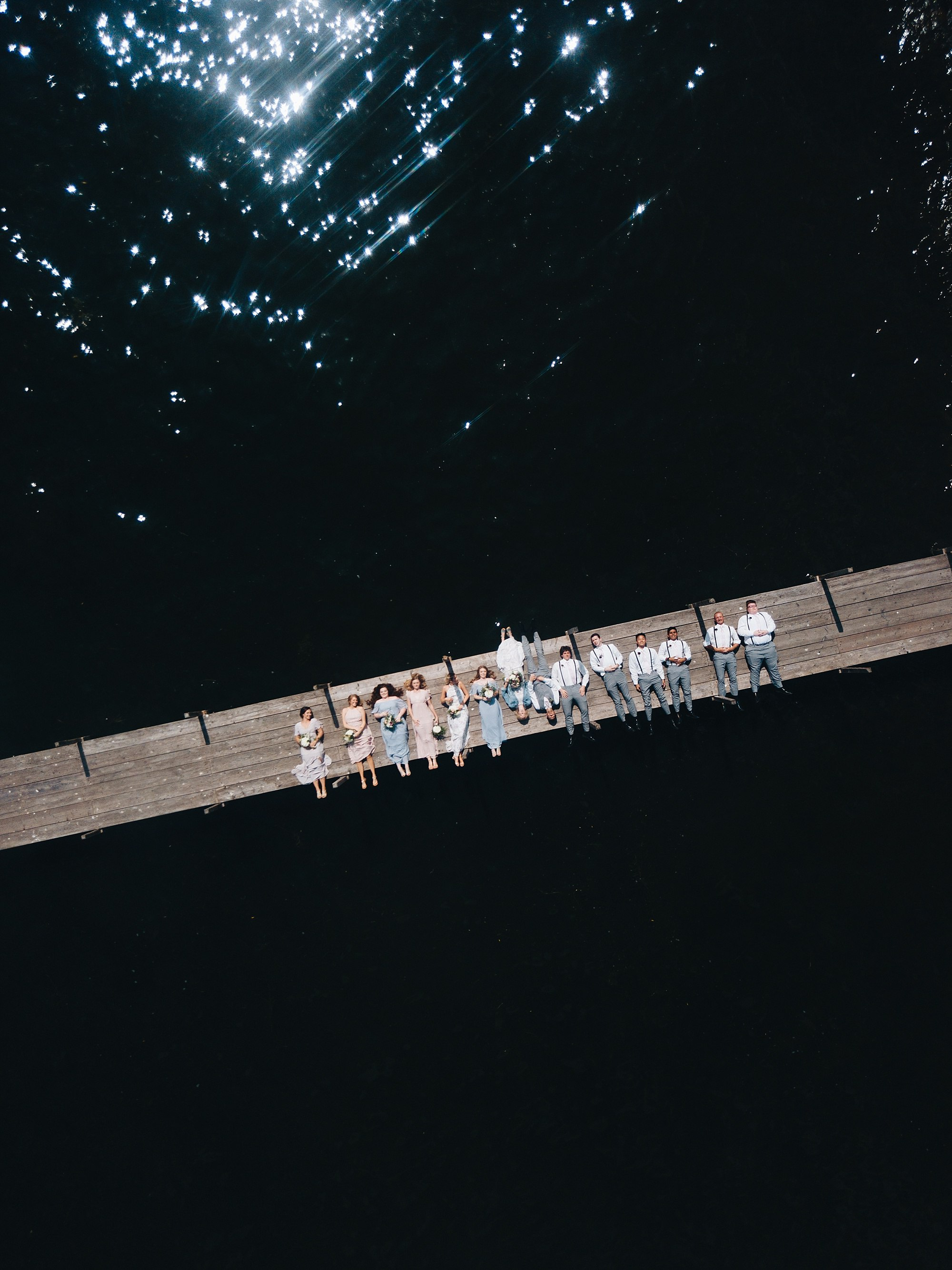 wilderly bride with drone wedding party photo at lake okoboji