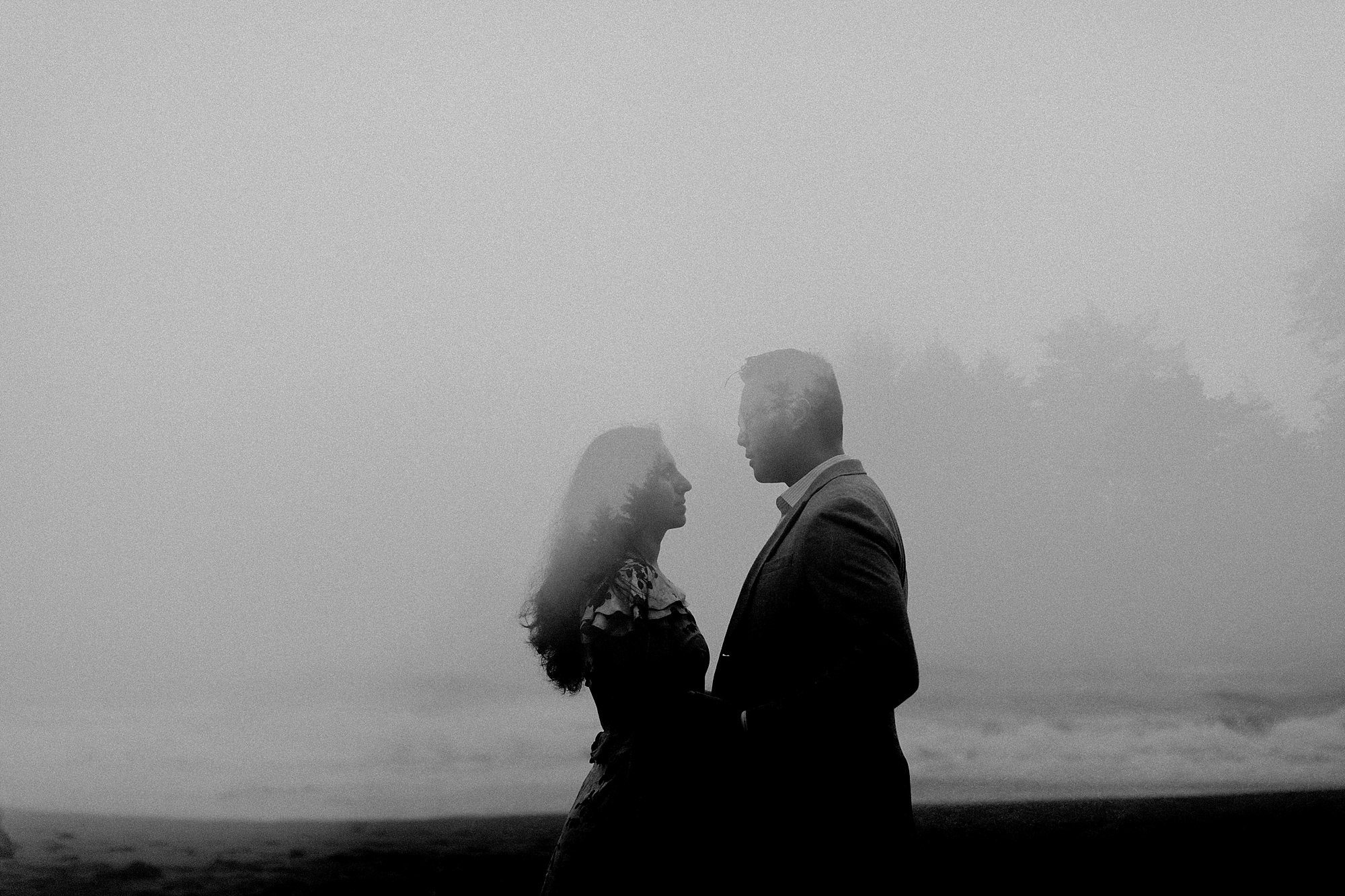 shi shi beach engagement shoot in olympic national park double exposure