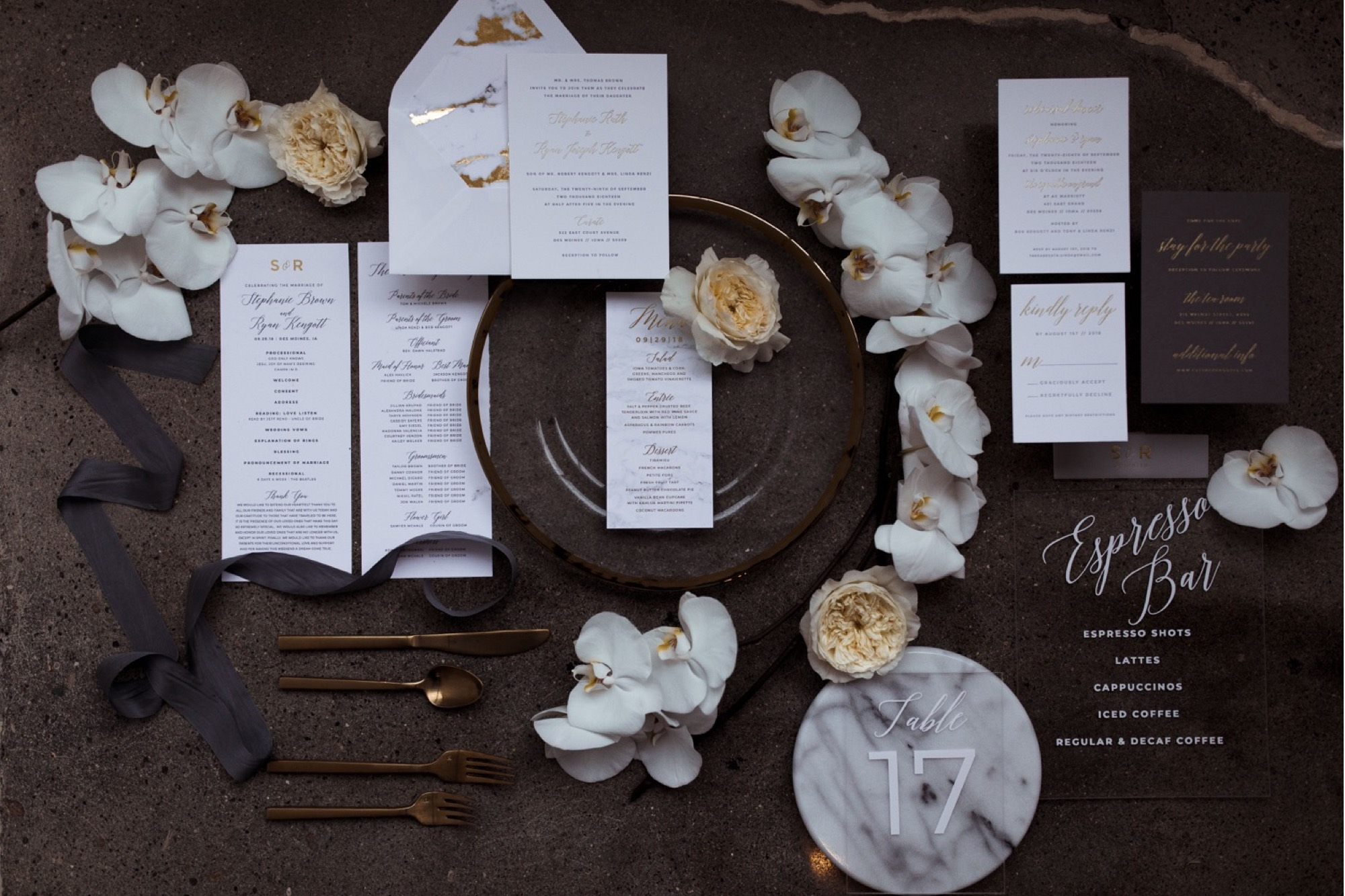 Flat lay invite suite for Des Moines wedding