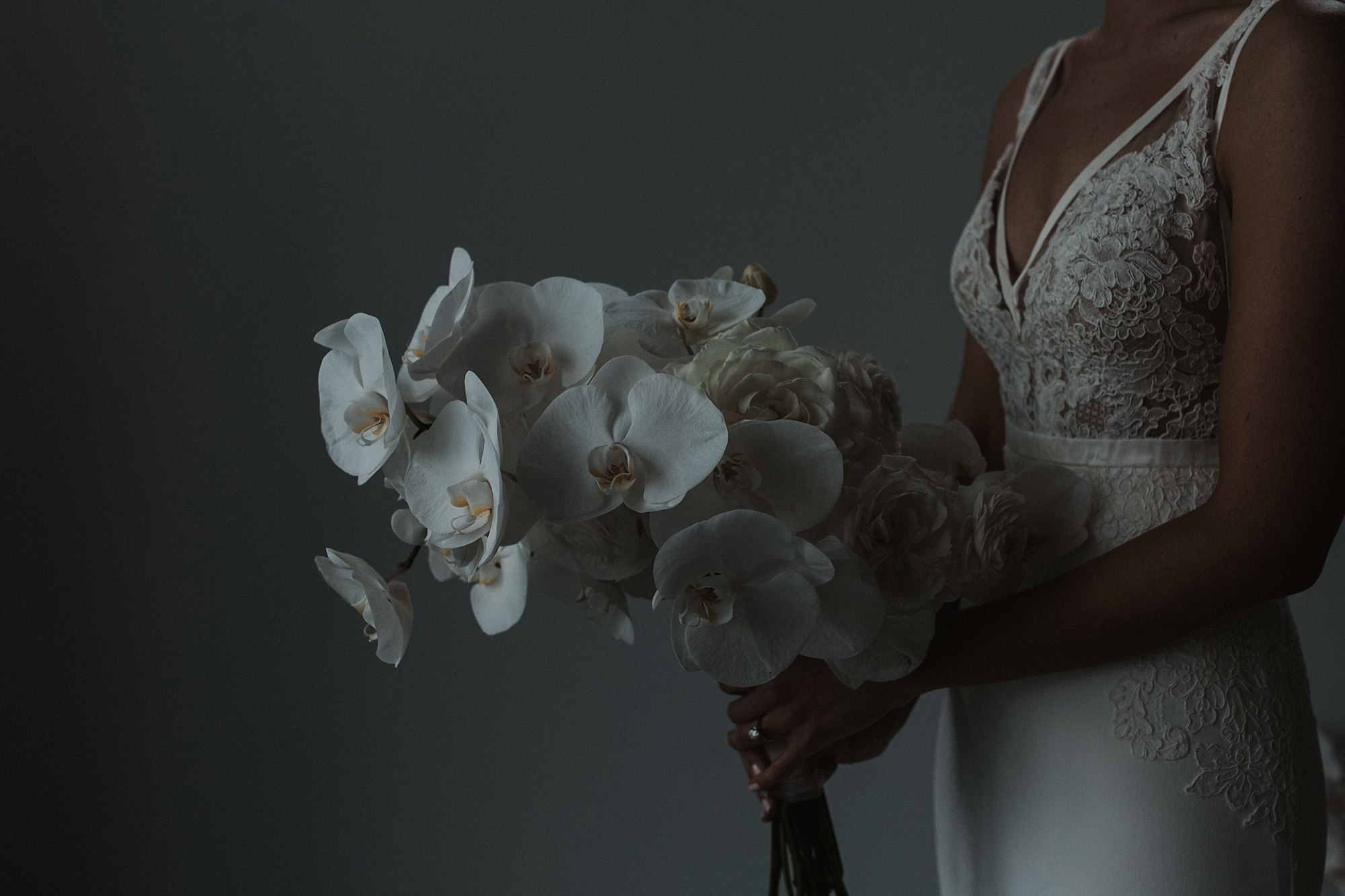 orchid bridal bouquet for curate wedding Des Moines