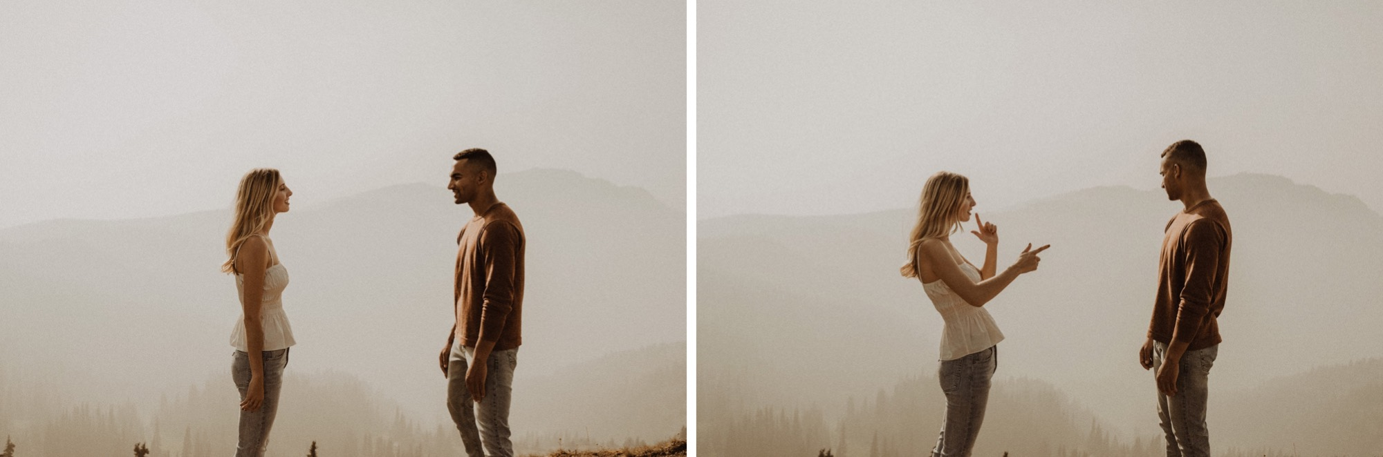 couple standing on smokey hurricane ridge like an old west engagement shoot in olympic national park