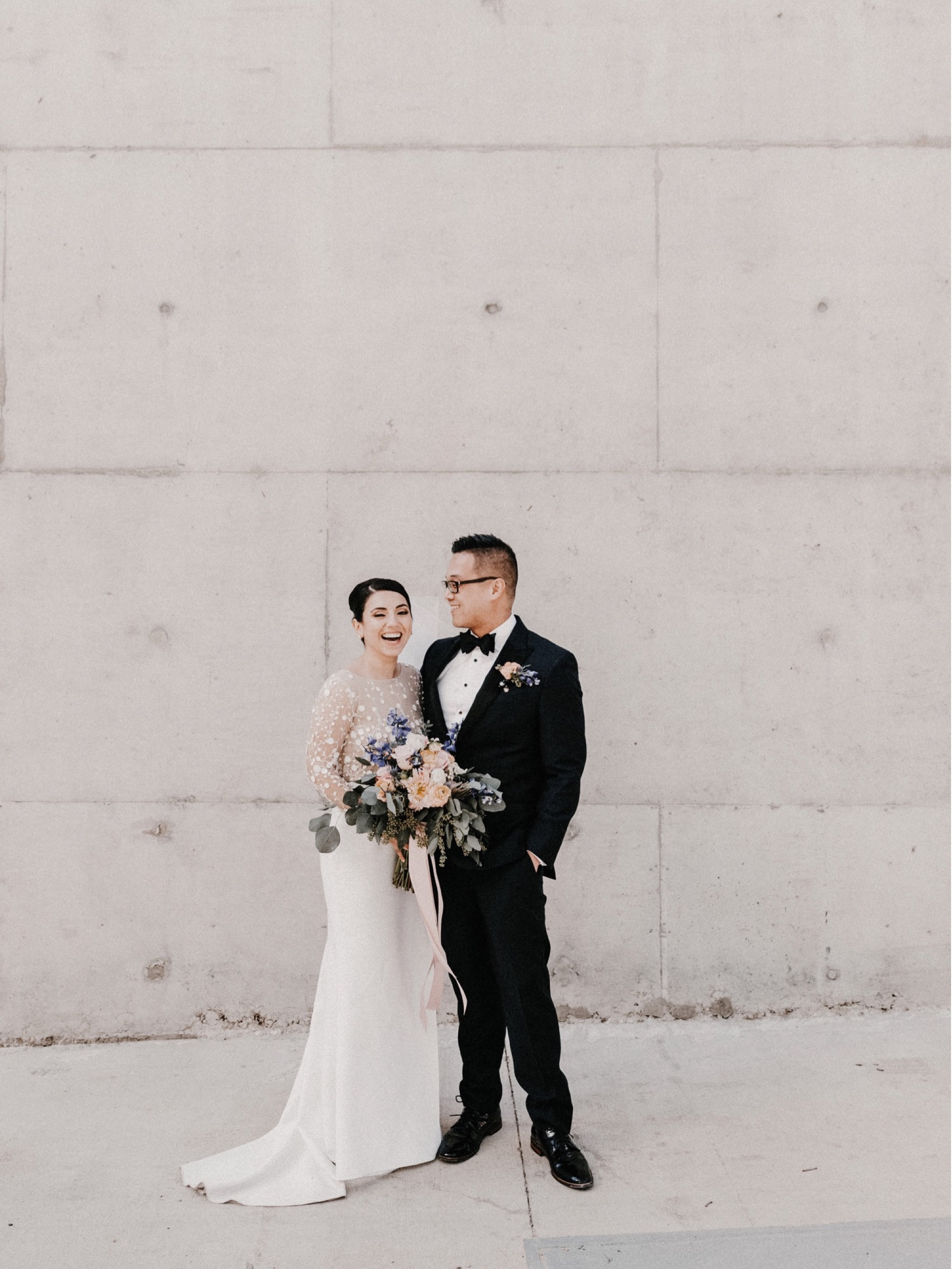 rime arodaky bride outside of University of Iowa Visual Arts building