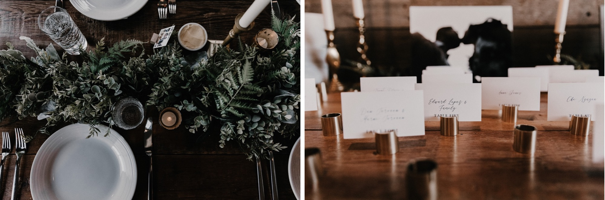 greenery and gold details on tables for wedding at rapid creek cidery