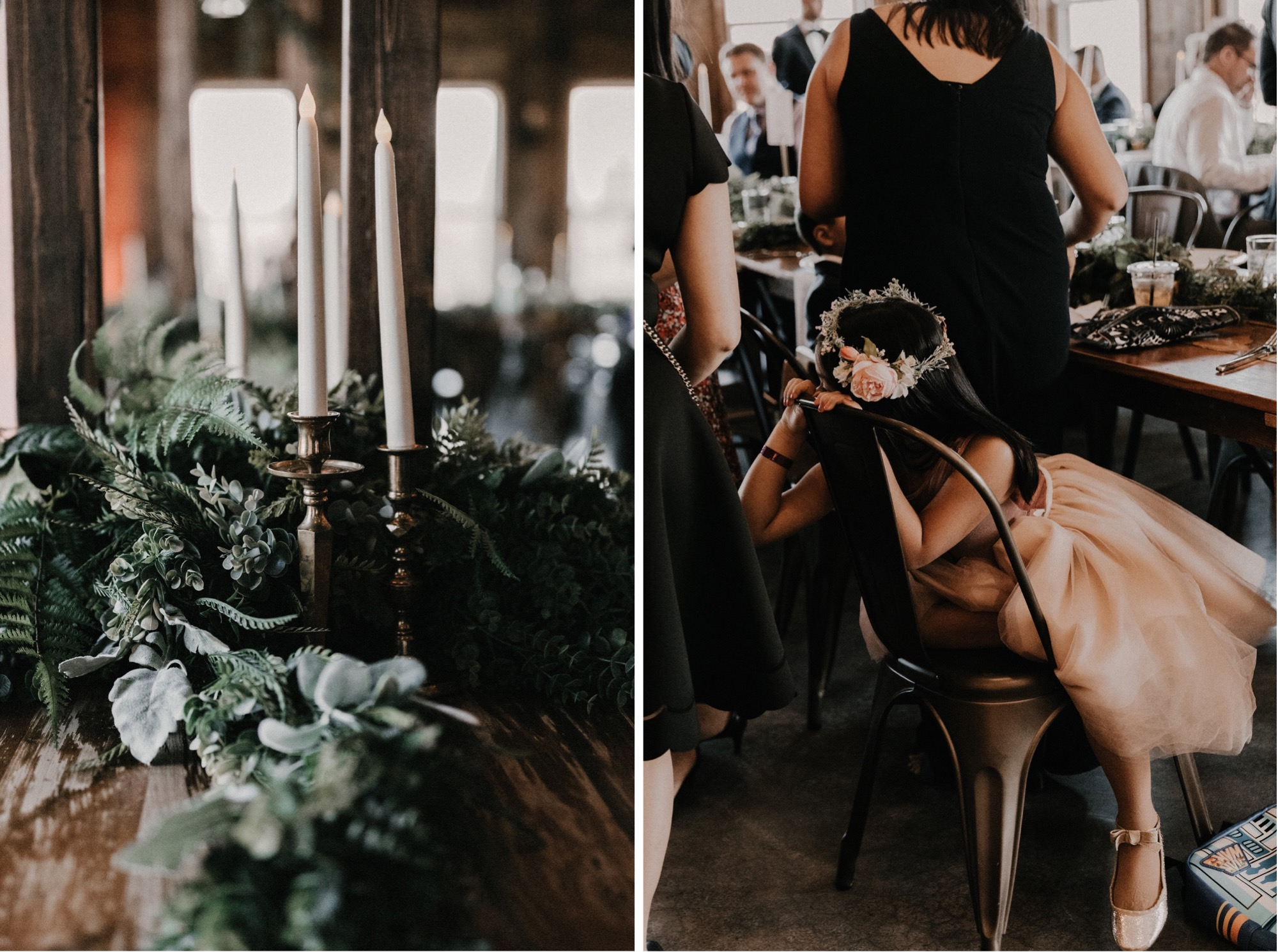 intimate rapid creek cidery reception with flower girl and greenery
