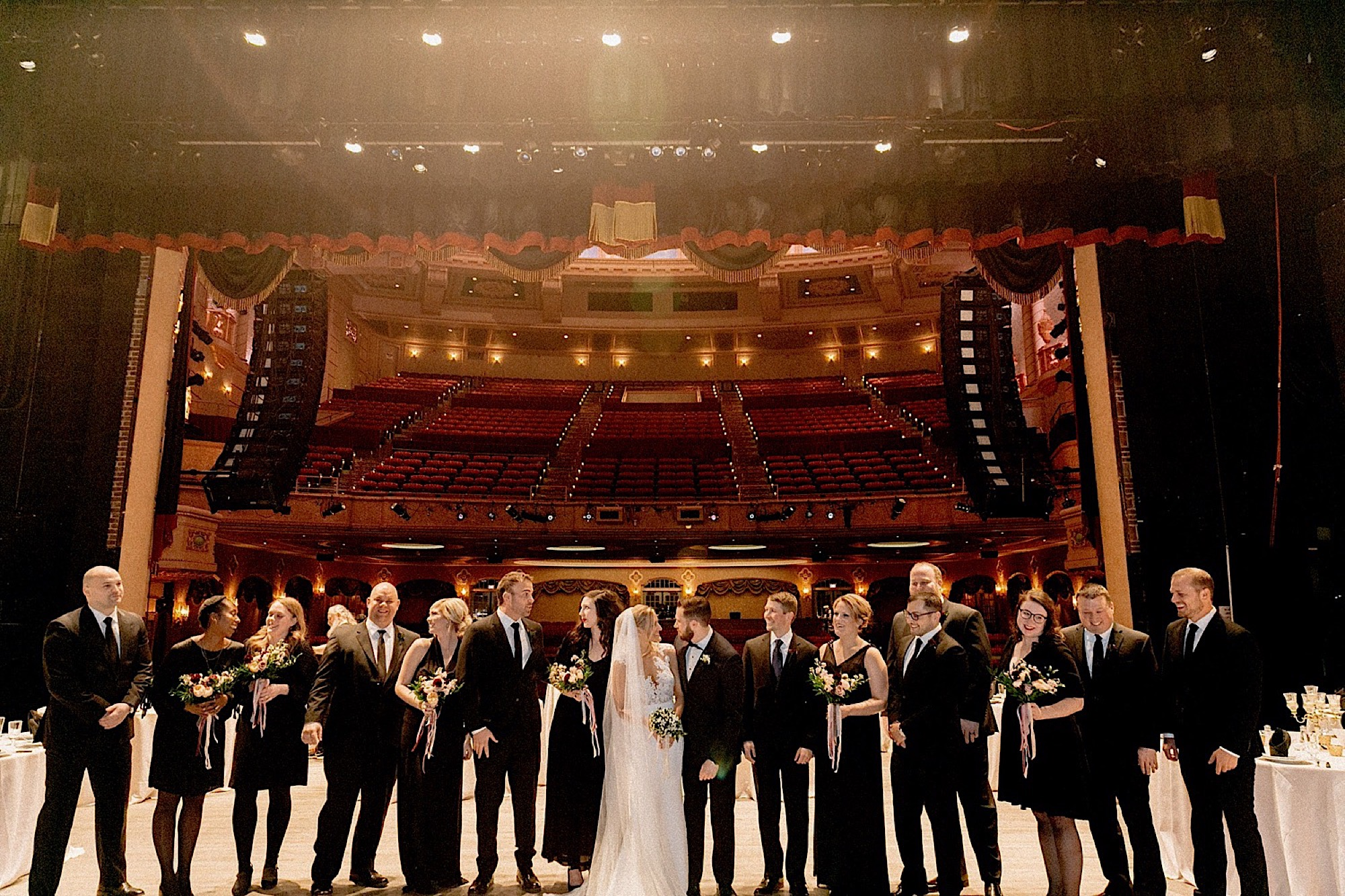 wedding party at the historic paramount theatre in Cedar Rapids