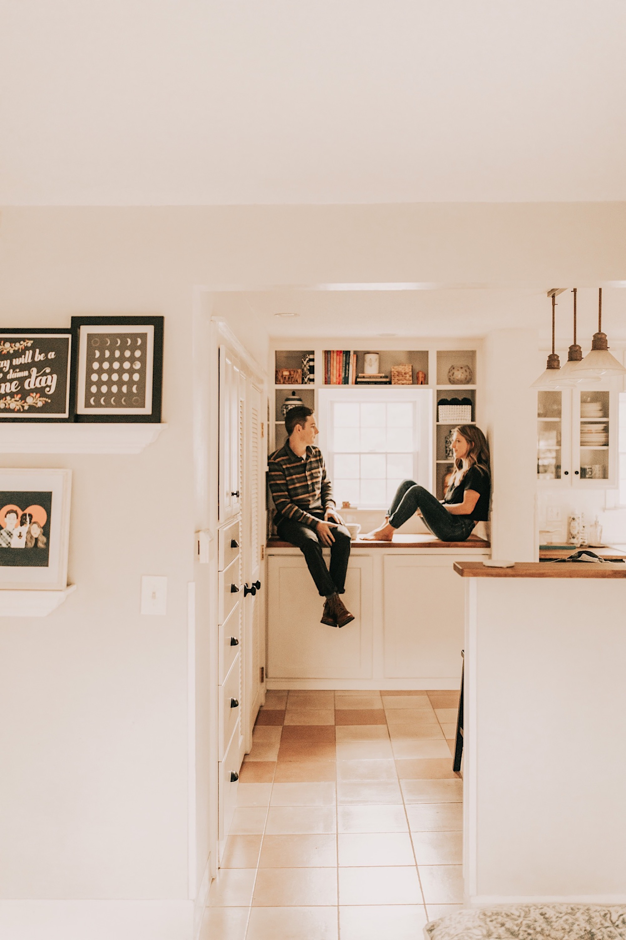 Kathryn and Vince at home for a cozy engagement shoot