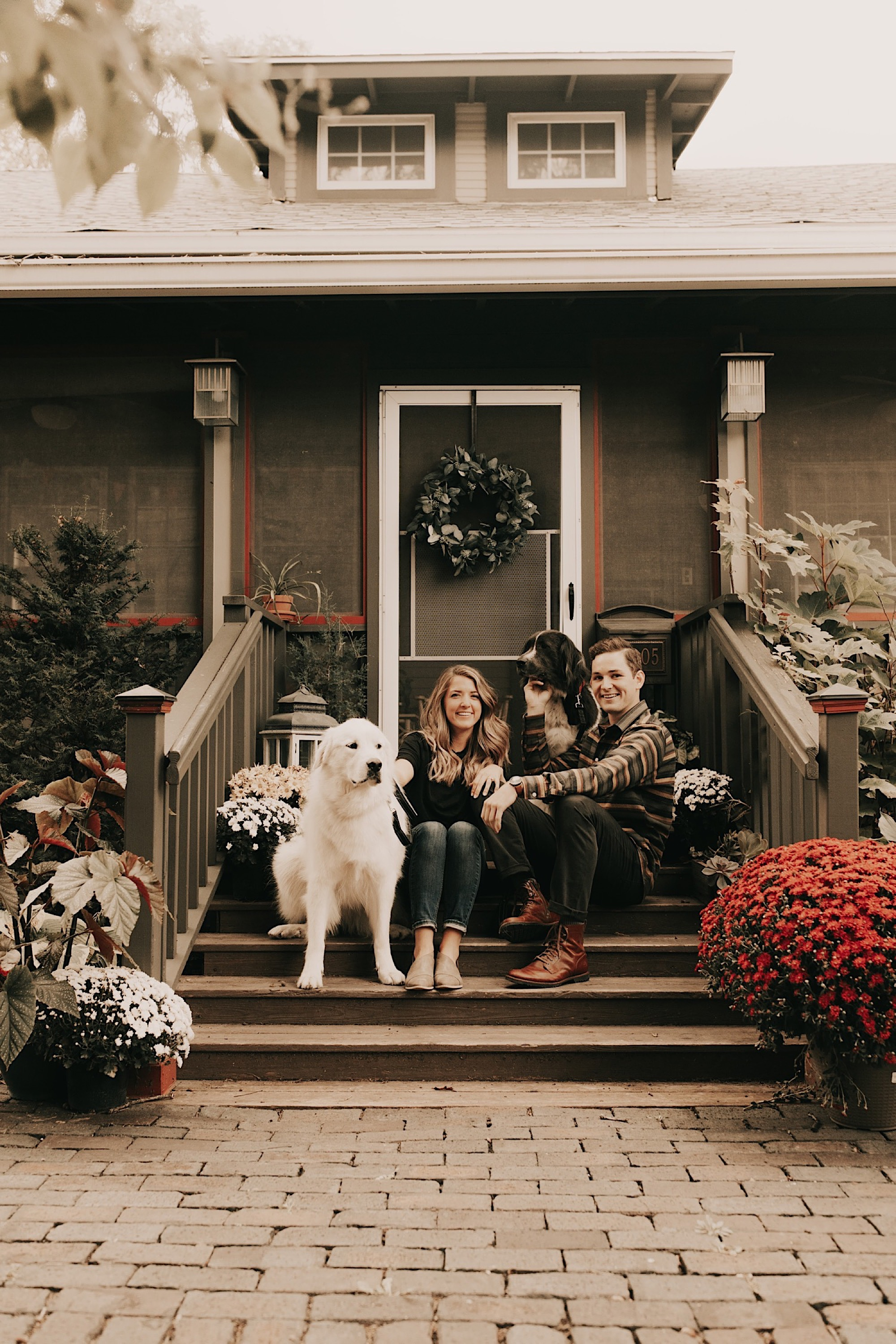 Kathryn wheeler and Vince Driscoll at home for engagement session