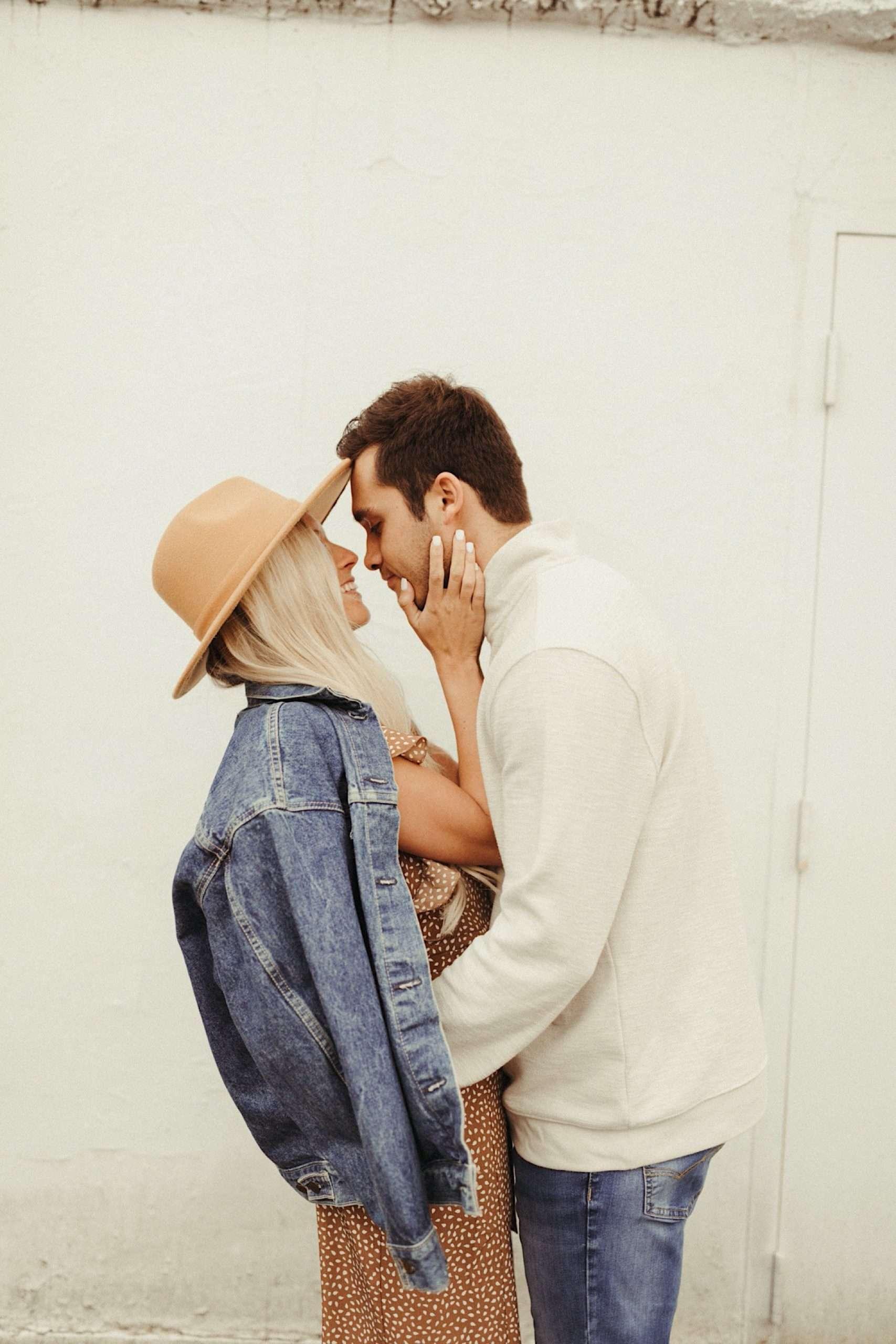 denim bridal jacket for dreamy vintage engagement shoot