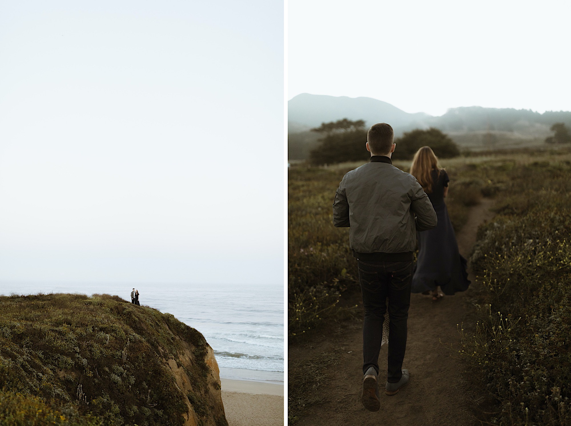 half moon bay California sunrise engagement session