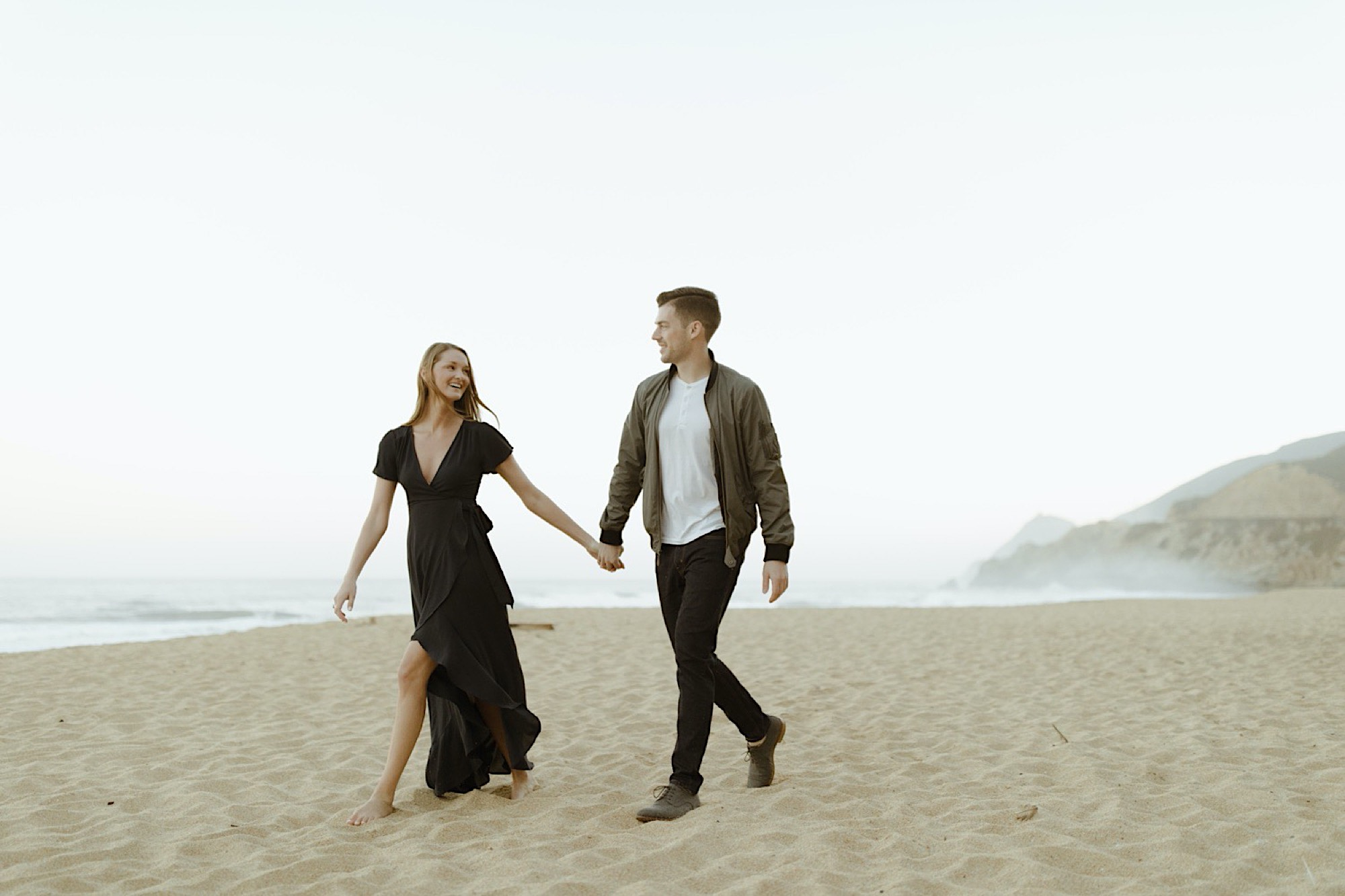 half moon bay beach engagement session