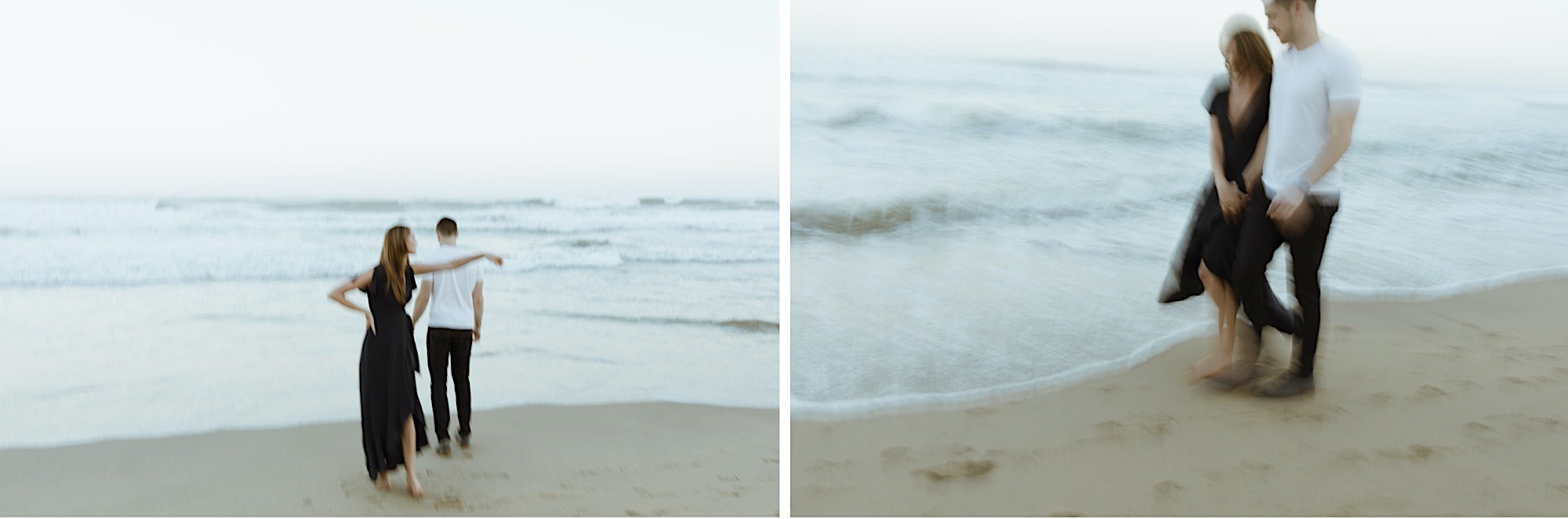 half moon bay beach engagement session on film