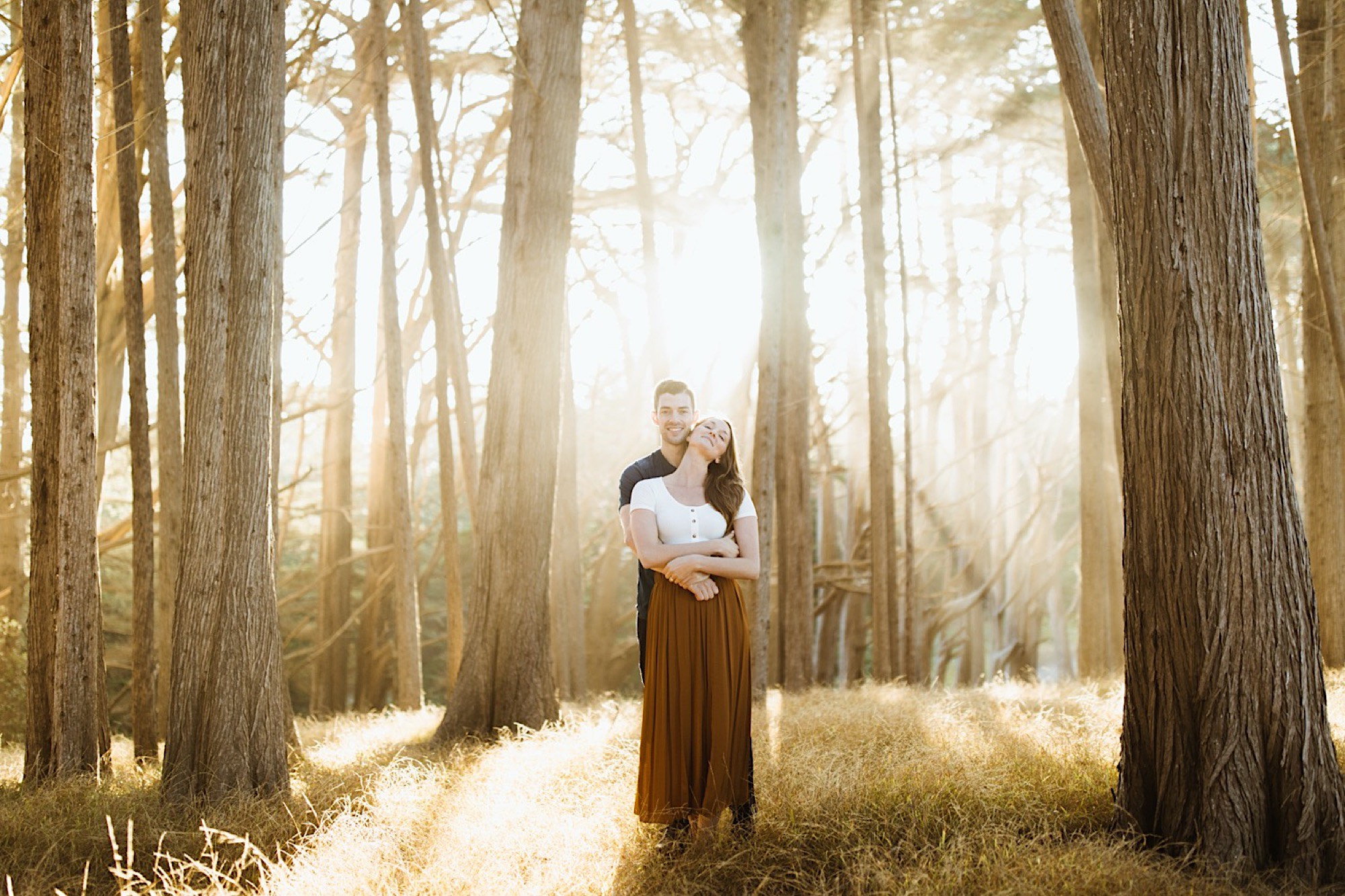 woodsy california engagement session at half moon bay